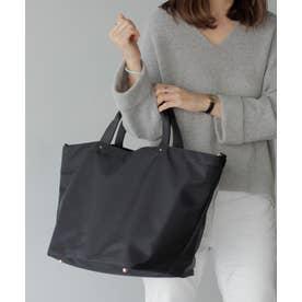 本革×ナイロントートバッグ 本革ハンドル A4 斜めがけ 2way ショルダーバッグ 旅行バッグ 出張バッグ マザーバッグ (BLACK)