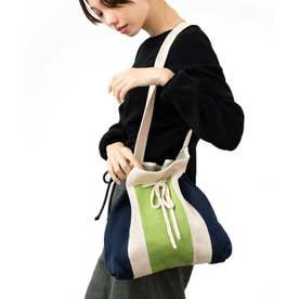 ショルダーバッグ ニットバッグ 編み込みバッグ ストライプ ニットバッグ (NGREEN)