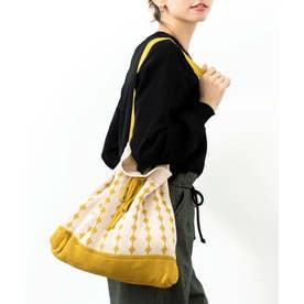 ショルダーバッグ ニットバッグ 編み込みバッグ ストライプ ニットバッグ (YELLOW)