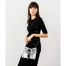 スパンコールバッグ 巾着 ショルダー バッグ ミニトートバッグ レディースバッグ 二次会 パーティーバッグ (SILVER)