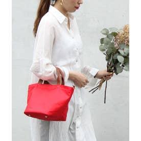 本革×ナイロントートバッグ 弁当 本革ハンドル ミニバッグ 斜めがけ 2wayショルダーバッグ 通勤バッグ (RED)