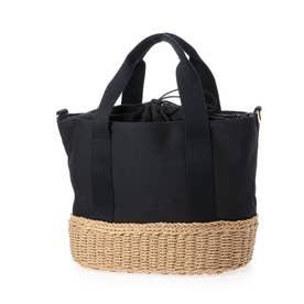 かごバッグ トートバッグ ショルダーバッグ キャンバス 手編み ポケット付き 夏バッグ (BLACK)
