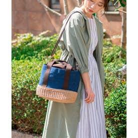 かごバッグ トートバッグ ショルダーバッグ キャンバス 手編み ポケット付き 夏バッグ (NAVY)