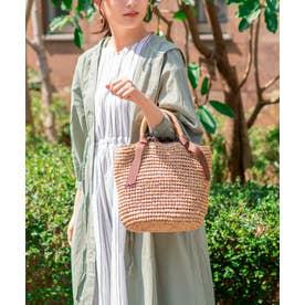 かごバッグ トートバッグ 手編み ポケット付き 夏バッグ (BEIGE)
