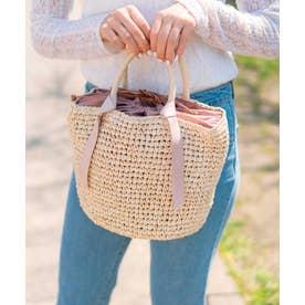 かごバッグ トートバッグ 手編み ポケット付き 夏バッグ (NATURAL)