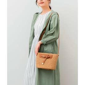 かごバッグ ショルダーバッグ 手編み ポケット付き 夏バッグ (CAMEL)
