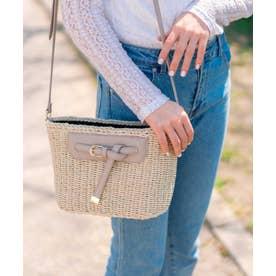 かごバッグ ショルダーバッグ 手編み ポケット付き 夏バッグ (GRAY)