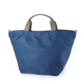 本革ハンドル2wayナイロントートバッグ (BLUE)