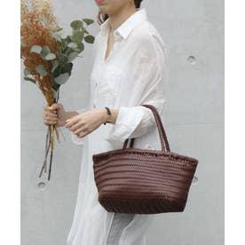 メッシュトートバッグ レディースバッグ キャンバスインナーバッグ付き 巾着セット編み込みバッグ (BROWN)