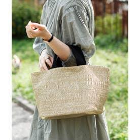 かごバッグ トートバッグ 舟形 ミニポーチ付き 帆布 ニトートバッグ 編み込み (BEIGE)