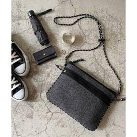 ダイバー素材  サコッシュ レディース メンズ ユニセックス ネオプレン ミニショルダーバッグ ウエットスーツ素材 ロープハンドル (CGRAY)