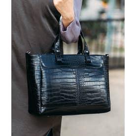 クロコ型押しトートバッグ A4 ビジネスバッグ 通勤 2way エディターズバッグ (BLACK)