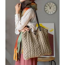 ニットバッグ レディースバッグ 編みバッグ トートバッグ 肩掛け ケーブル編み 通勤 通学 デイリーバッグ ワンマイルバッグ (BEIGE)