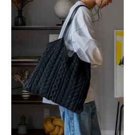 ニットバッグ レディースバッグ 編みバッグ トートバッグ 肩掛け ケーブル編み 通勤 通学 デイリーバッグ ワンマイルバッグ (BLACK)