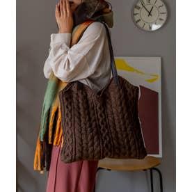 ニットバッグ レディースバッグ 編みバッグ トートバッグ 肩掛け ケーブル編み 通勤 通学 デイリーバッグ ワンマイルバッグ (CHOCO)