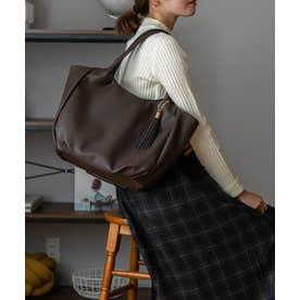 バルーントートバッグ A4 肩掛け 通勤通学 タッセル付き マザーズバッグ (BROWN)