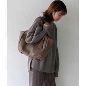バルーントートバッグ A4 肩掛け 通勤通学 タッセル付き マザーズバッグ (MOCHA)