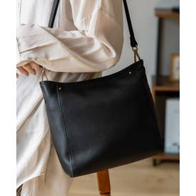 本革ショルダーバッグ 斜め掛け レザーバッグ 長財布収納可能 通勤バッグ ミニバッグ (BLACK)