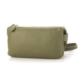 【お財布ポシェット】 本牛革 レザーお財布ポシェット レディースバッグ (KHAKI)
