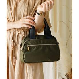 ナイロンショルダーバッグ 6ポケット収納 斜めがけ ナイロンミニトートバッグ レディースバック 旅行バッグ サブバッグ (KHAKI)