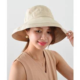つば広帽子 UV対策 マスク焼け防止 チュラルハット (ベージュ)
