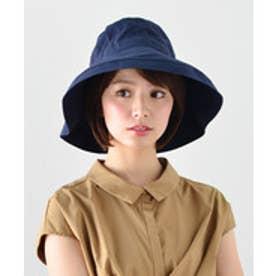 つば広帽子 UV対策 マスク焼け防止 チュラルハット (ネイビー)