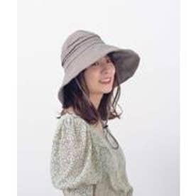 つば広帽子 マスク焼け防止 UV対策 レディースつば広ハット キャペリンハット コットンハット 紫外線対策 アウトドア (GRAY)