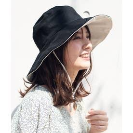 つば広帽子 マスク焼け防止 UV対策 レディース つば広ハット キャペリンハット コットンハット (BLACK)