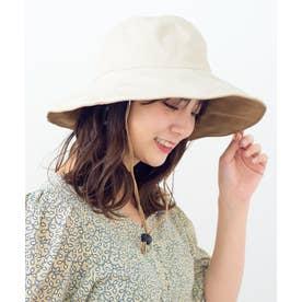 つば広帽子 マスク焼け防止 UV対策 レディース つば広ハット キャペリンハット コットンハット (IVORY)