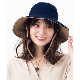 つば広帽子 マスク焼け防止 UV対策 レディース つば広ハット キャペリンハット コットンハット (NAVY)