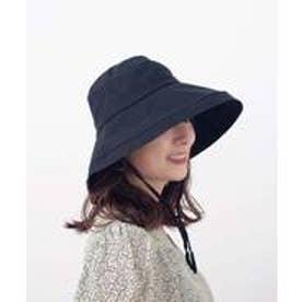 つば広帽子 マスク焼け防止 UV対策 レディース つば広ハット キャペリンハット コットンハット リネンハット (BLACK)