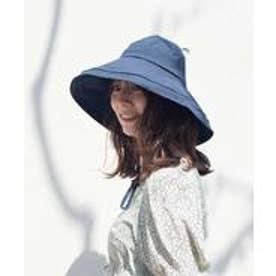 つば広帽子 マスク焼け防止 UV対策 レディース つば広ハット キャペリンハット コットンハット リネンハット (NAVY)