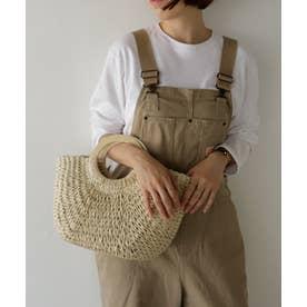 かごバッグ ウッドハンドルレディースカゴバッグ かごトートバッグ 編み込み 手編み 雑材 (IVORY)