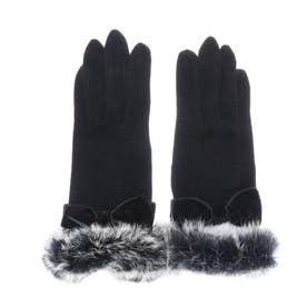 ラビットファー 手袋 レディース スマートフォン対応 手首回りにファー 毛 ウール フリーサイズ (BLACK)