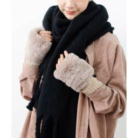 手袋 防寒 手袋 レディース かわいい リブ 手袋 指なし 毛 ポリエステル フリーサイズ (BEIGE)