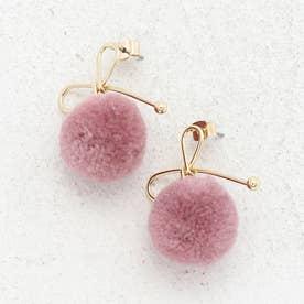 リボン×ポンポンピアス レディースピアス ポンポン ジュエリー アクセサリー プレゼント ウール 毛糸 丸い リボンモチーフ (PINK)