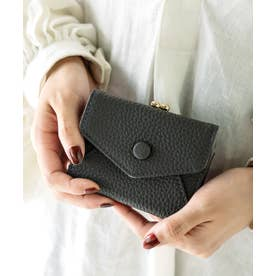 ミニ財布 がま口財布 二つ折り/三つ折り ミニウォレット 小銭入れ付き レターフラップ コンパクトウォレット (CHARCOAL)