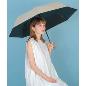 晴雨兼用折りたたみ日傘(自動開閉/親骨55cm) (SANDBEIGE)