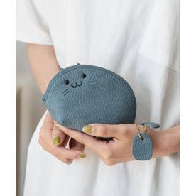 キーリング付き本革コインケース(Cat) (BLUE)