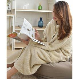 ガウン ルームウェア 着る毛布 もこもこ ポケット付き 襟付き おしゃれ ルームウェアレディース パジャマ (BEIGE)