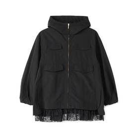 裾レース付きワッシャー加工ブルゾン (ブラック)
