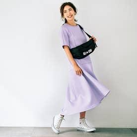 バックロング裾フレアワンピース (パープル)