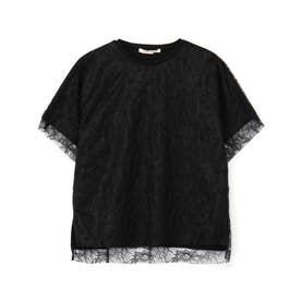 繊細袖レースTシャツ (ブラック)