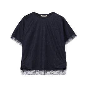 繊細袖レースTシャツ (ネイビー)