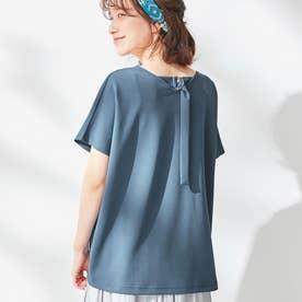【4つの機能付】バックベルトゆるTシャツブラウス (スモーキーブルー)