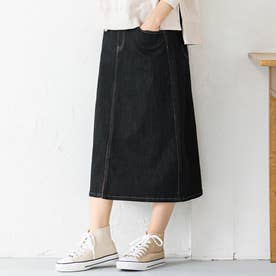 楽ちんきれいリボン付デニムスカート (インディゴブラック)