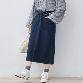 楽ちんきれいリボン付デニムスカート (インディゴネイビー)