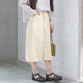 楽ちんきれいリボン付デニムスカート (キナリ)