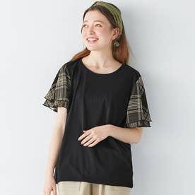 【5つの機能付】袖シフォンTシャツ (ブラック系チェック)