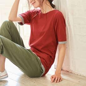 綿100%レイヤード風Tシャツ (レンガ)